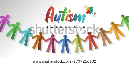 Autism Awareness Day web banner illustration of paper cut children garland. Diverse kid group holding hand together for autistic support event on april 2.