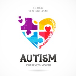 Autism Awareness Month. It's okay to be different. Trend lettering. Multicolored puzzle in the form of heart of brush strokes. Healthcare concept. Vector illustration on white background