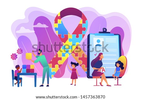 Autism spectrum disorder. Child development. Autism therapy, autism treatments for adults and childrens, applied behavior analysis concept. Bright vibrant violet vector isolated illustration