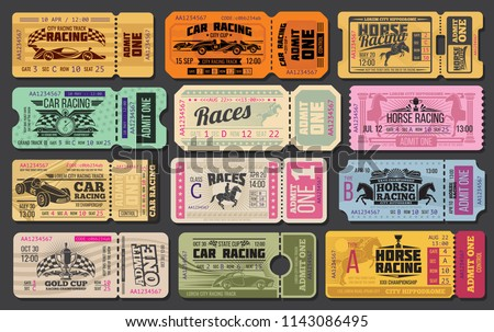 Auto and horse racing sport event tickets template. Admit one cards with vintage racing car, racehorse and winner trophy cup, racing flag and stopwatch for motorsport and equestrian sport design