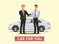 auto business, car sale, deal,  dealer giving key to new owner and shaking hands  ,Vector illustration
