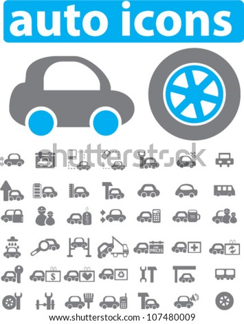 auto & car icons set, vector