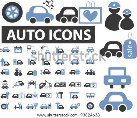 auto & car icons set, vector illustrations