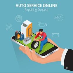 Auto Car repair service center online concept. Flat 3d isometric vector illustration.