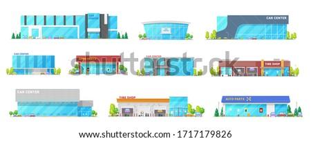 Auto center, car service and automotive mechanic station buildings, vector flat icons. Modern buildings of vehicle tires and spare parts shop, automotive restoration and diagnostics garage workshops