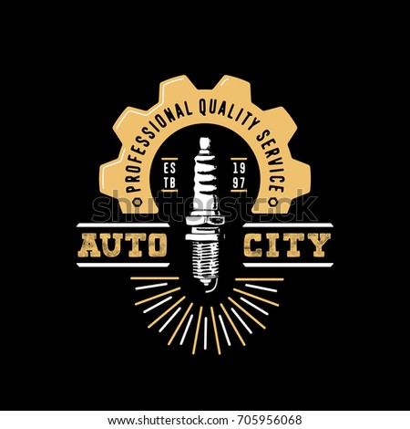auto city logo. drawn spark...