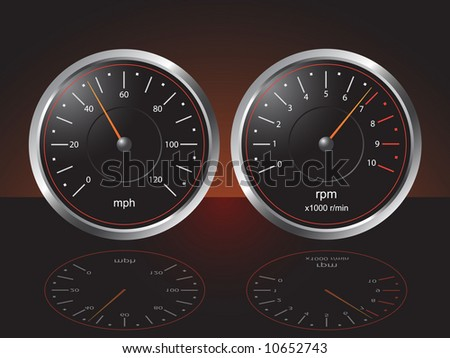 Auto Dashboard Gauges with Reflections - Vector