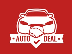 Auto Deal - Logo for car Dealership. Front view of Car with Handshakes - Creative Emblem, Badge, Sticker, Header on red color.