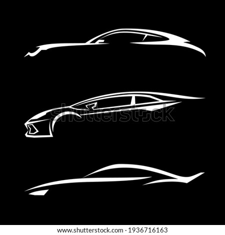 Auto dealer logo for advertising on black background icons vector.