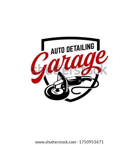 auto detailing logo polisher car vintage Foto stock ©