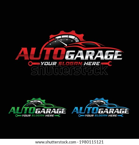 Auto garage company Logo. Auto repair service logo, badge, emblem, template.
