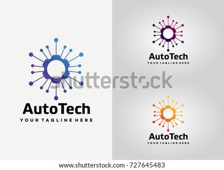 Auto Gear Tech Logo Template Design. Creative Vector Emblem, for Icon or Design Concept.