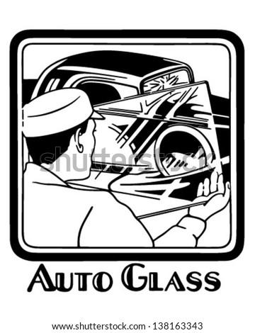 Auto Glass - Retro Clip Art Illustration