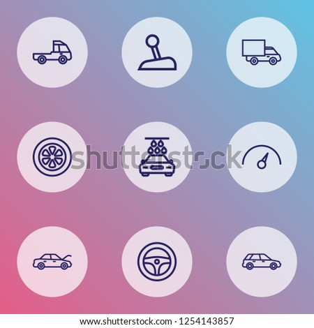 Auto icons line style set with speedometer, truck, gear level and other lorry elements. Isolated vector illustration auto icons.