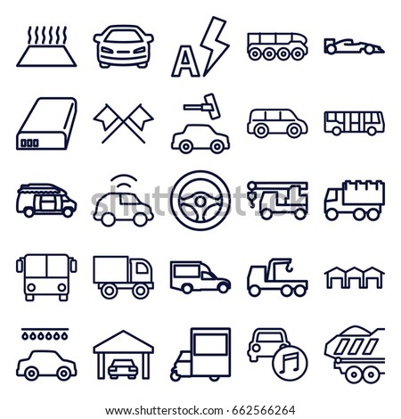 Auto icons set. set of 25 auto outline icons such as airport bus, car wash, car, truck, truck with hook, van, cargo trailer, battery, auto flash, garage, weapon truck