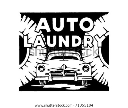 Auto Laundry - Retro Ad Art Banner