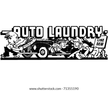 Auto Laundry 2 - Retro Ad Art Banner