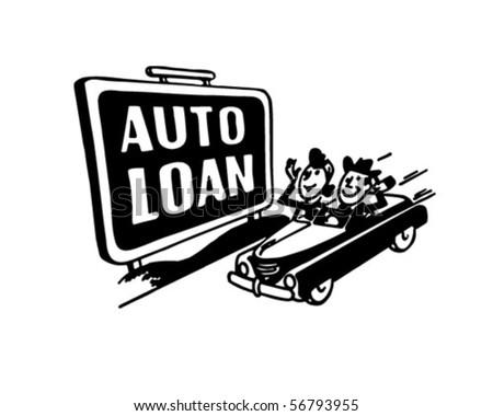 Auto Loans - Sign - Retro Clip Art