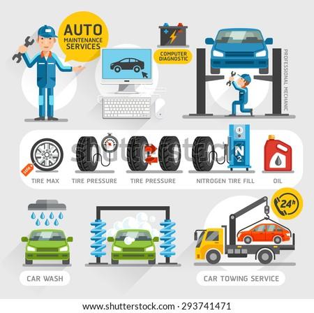 Auto Maintenance Services icons. Vector illustration.