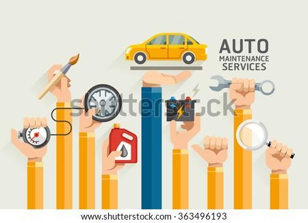 Auto Maintenance Services. Vector Illustrations.