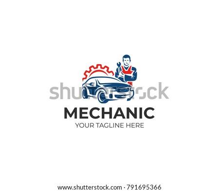 Auto mechanic and car logo template. Automotive technician vector design. Auto service illustration