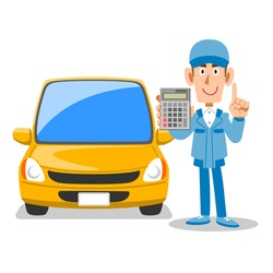 Auto mechanic and car showing a calculator