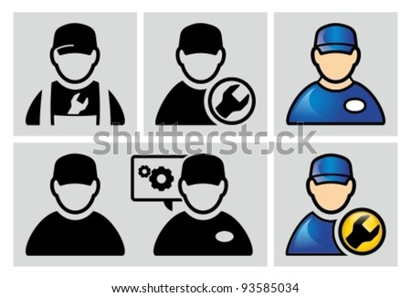 Auto mechanic avatar icons set. - stock vector