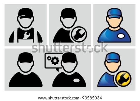 Auto mechanic avatar icons set.