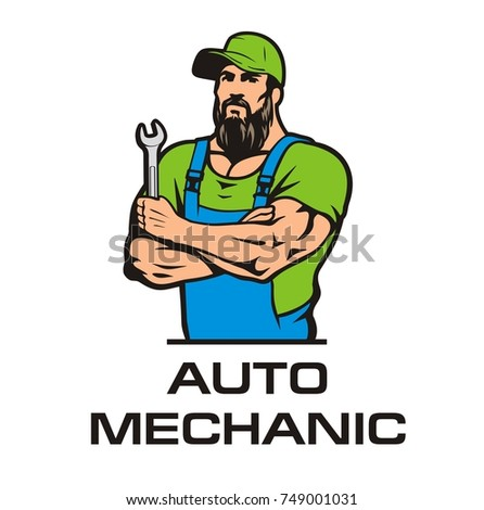 auto mechanic in a cap with a wrench, vector image