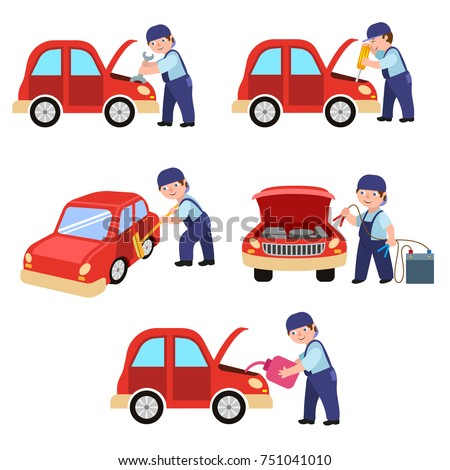 Auto mechanic working in car service, repair and maintenance workshop, cartoon vector illustration isolated on white background. Auto mechanic repairing, oiling, cleaning a car, car maintenance set