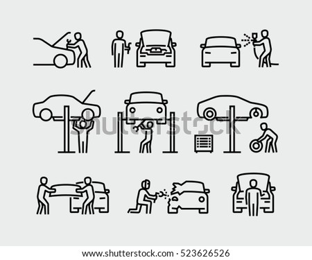 Auto mechanic working on a car icons