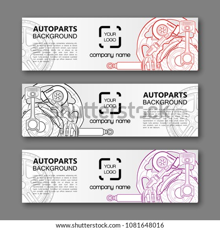 Auto parts banner. Modern template vector design. Vector car service design auto parts template. Header Design Elements. Abstract auto parts banner template background. Collection car service design