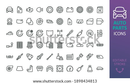 Auto parts icon set. Isolated car part vector icons.