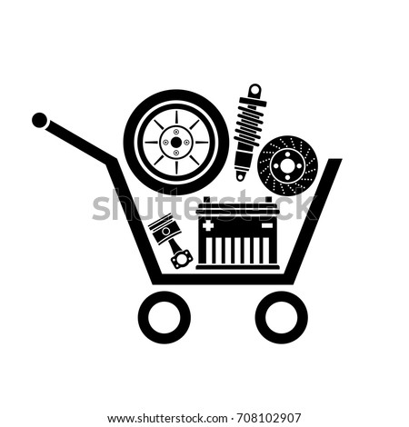 Auto parts in the supermarket trolley. Symbol of car parts store. Vector image.