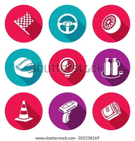 auto racing icons set vector