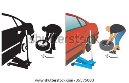 auto repair. changing a punctured automobile wheel tire