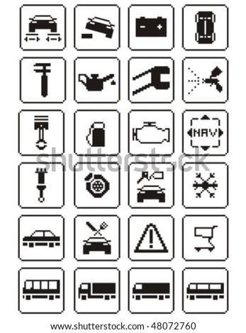 Auto repair digital - icons set. Vector illustration. - stock vector