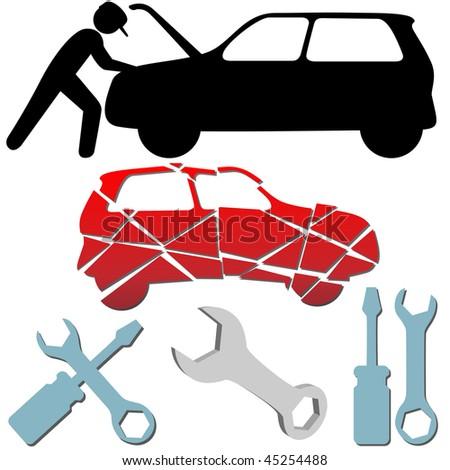 Auto Repair on Auto Repair Maintenance Car Mechanic Symbol Icon Set  Stock Vector