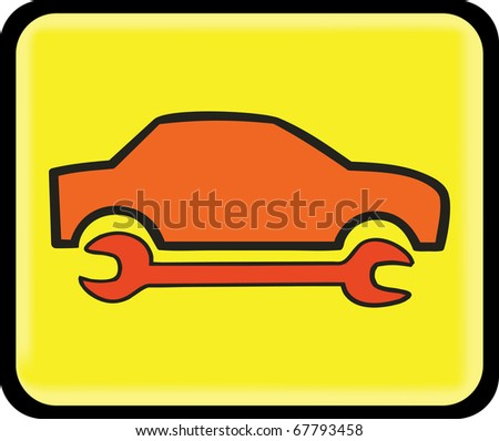 auto repair, service icon, on the yellow background sign
