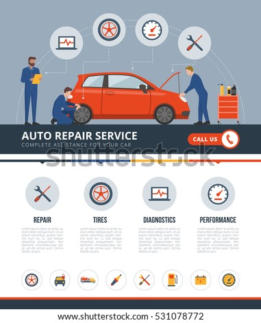 Auto repair service infographic with mechanics working on a car, text and icons set: repair, tires, diagnostics, performance