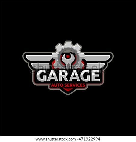 Auto Repair Service Logo Badge Emblem Template Key And Gear On Background