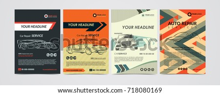 Auto repair Services business layout templates set, cars for sale & rent brochure, mockup flyer. Vector illustration.