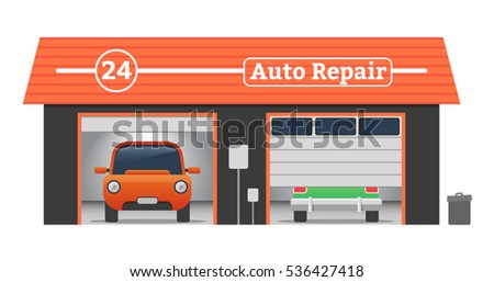 Auto repair Vector flat garage concept. Car tuning, auto repair, battery charging, autocorrect, auto painting. Cars in garage, car wash