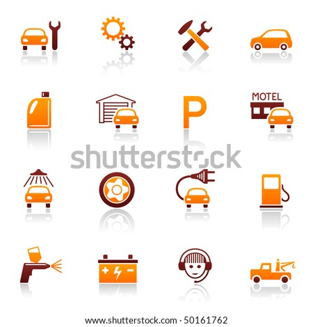 Auto service and repair vector icon set. Car fix and automotive symbols