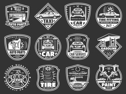 Auto service, car repair service and vehicle spare parts store icons. Vector taxi service, gasoline station or car wash and automotive diagnostics and restoration garage or tire fitting