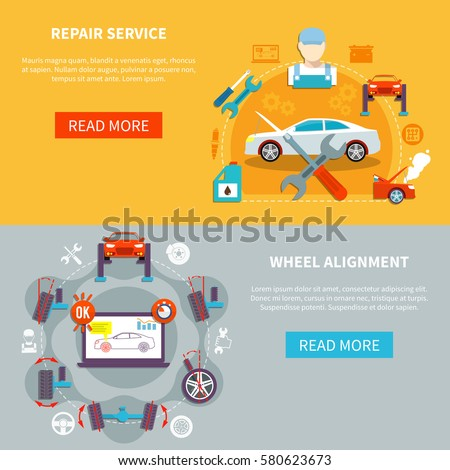 Auto service horizontal banners with repair service and wheel alignment decorative icons compositions  flat vector illustration