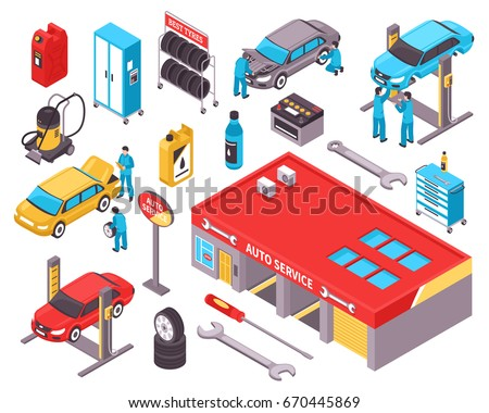 Auto service isometric icons set with cars diagnostic equipment repair tools garage space isolated vector illustration