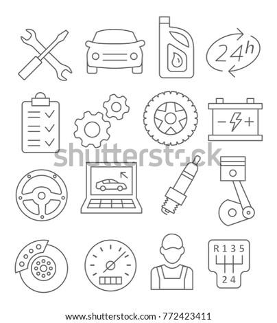 Auto Service Line Icons on white