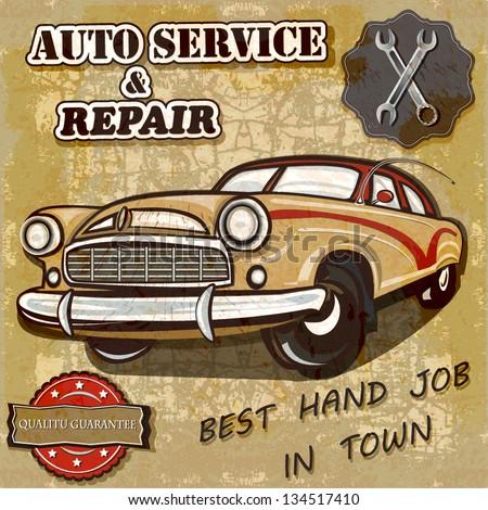 Auto service retro poster. - stock vector