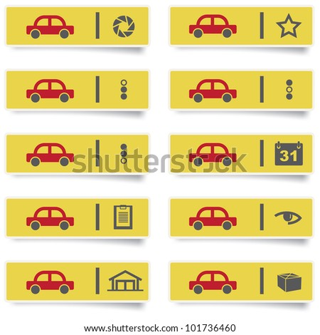 auto service stickers and icons set for web design and high quality print. more stickers are available